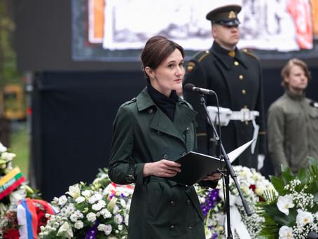 Seimo pirmininkės Viktorijos Čmilytės-Nielsen kalba prie Panerių memorialo