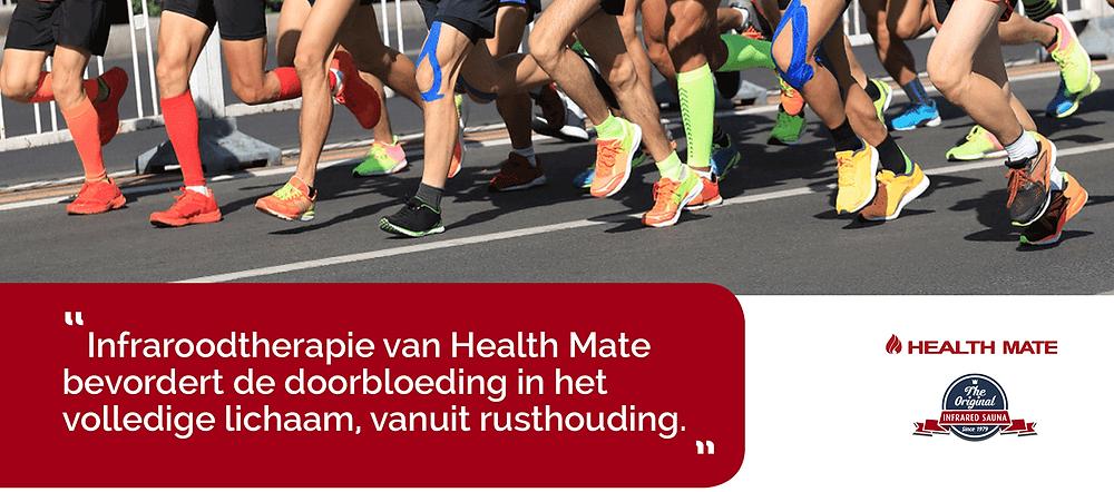 Infraroodtherapie van Health Mate bevordert de doorbloeding in het volledige lichaam.