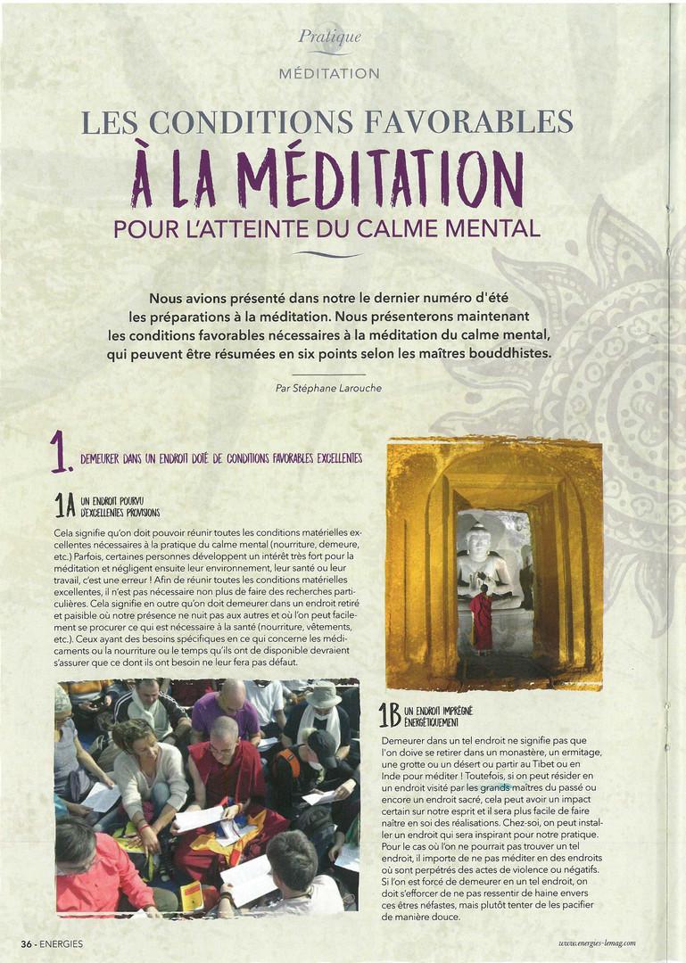 Magazine Energies #48 - La Méditation - Conditions Favorables