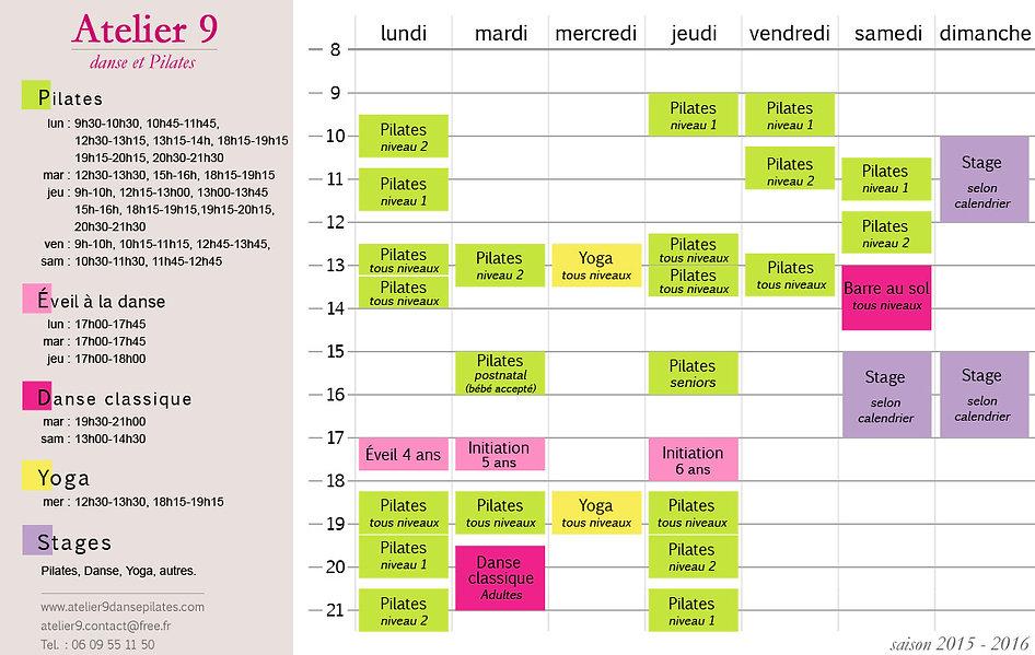 Ecole de danse Atelier 9 : planning des cours Pilates, danse et yoga saison 2015-2016