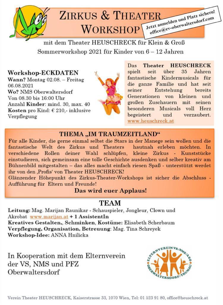 Meldet euch schnell an für den ersten Workshop von und mit dem Theater HEUSCHRECK - für Kinder von 6 - 12 Jahren!