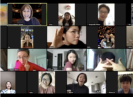 Zoom IMPRO class with former students from China