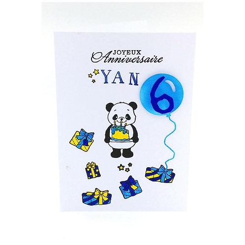 Carte anniversaire Panda garçon