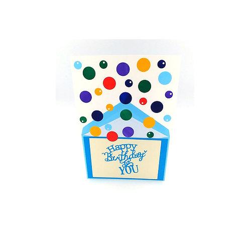 Carte confettis bleu