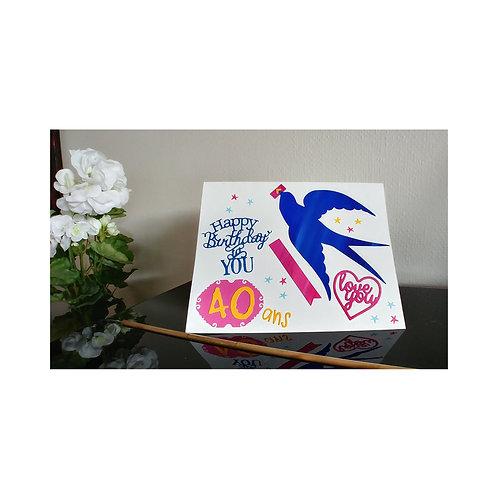 Carte anniversaire festive 40 ans