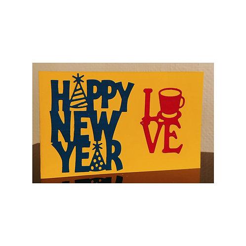 Happy new year card, carte bonne année