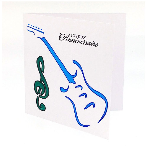 Carte anniversaire guitare 1 note