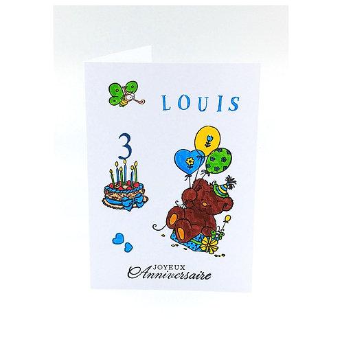 Carte anniversaire ourson garçon