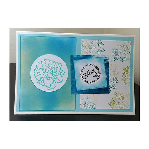 Carte merci et rose bleu