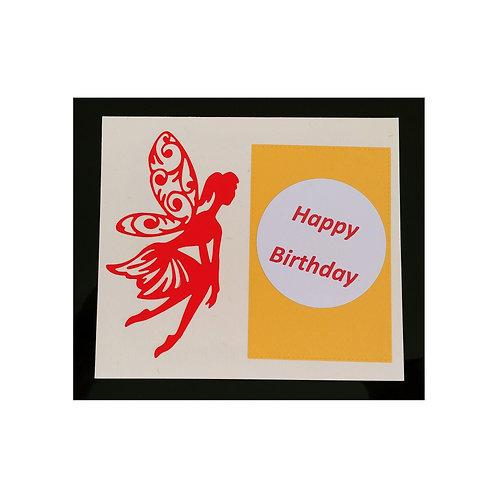 Carte anniversaire fée rouge