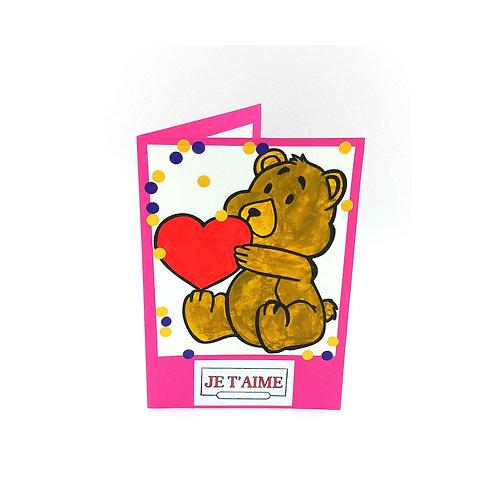Carte Saint-Valentin avec ourson