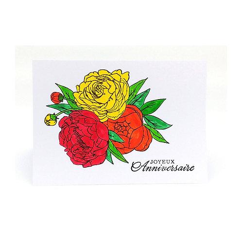 Carte d'anniversaire avec des fleurs