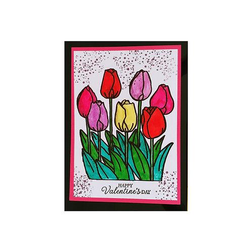 Bonne Saint-Valentin avec des tulipes