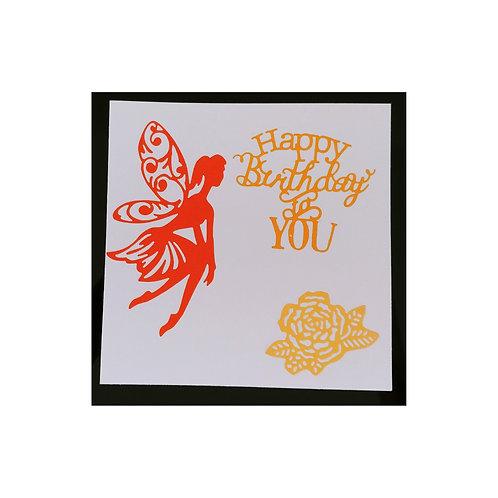 Carte anniversaire fée orange