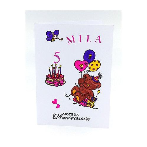 Carte anniversaire ourson fille