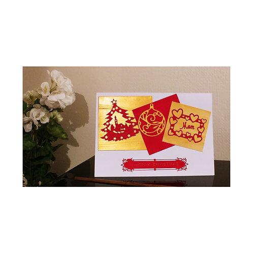 Merry christmas card, carte de vœux Noël