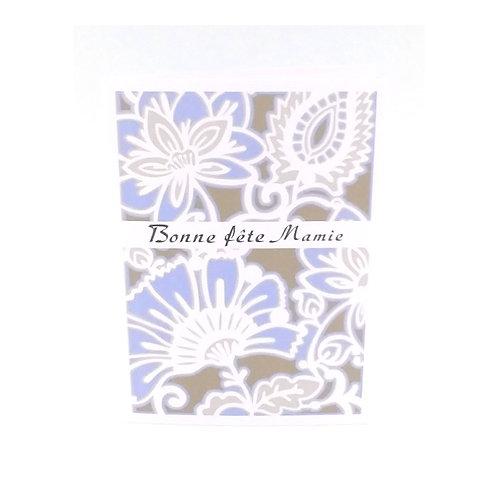 Carte à personnaliser fleur bleu