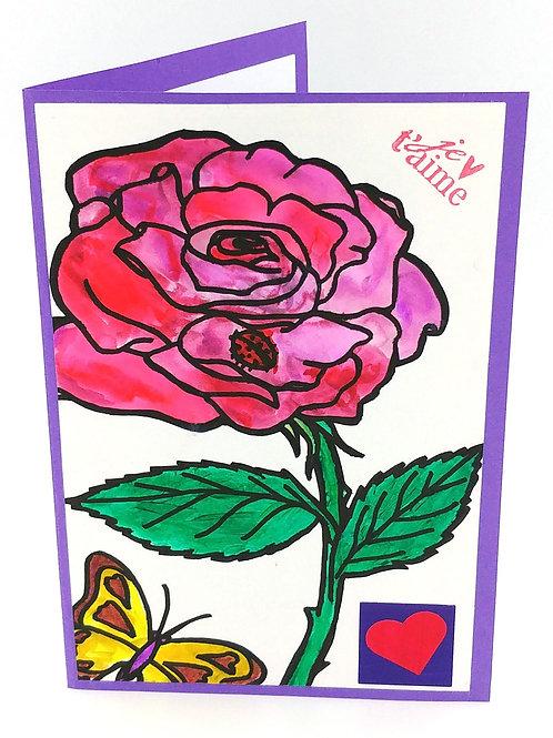 Carte rose et papillon
