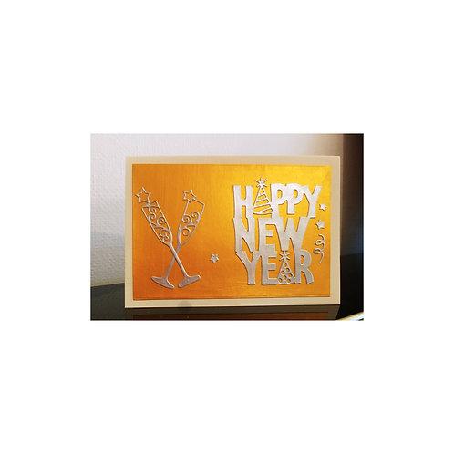 Carte bonne année avec coupe de champagne