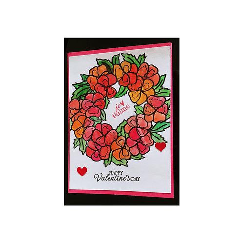 Carte Saint-Valentin couronne de fleur
