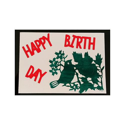 Carte anniversaire oiseau vert