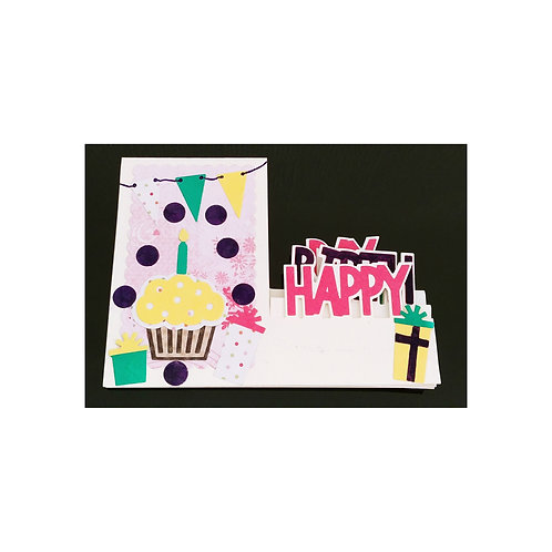 Carte anniversaire 3D POP UP cupcake