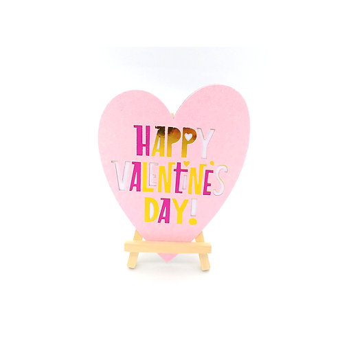 Carte en forme de cœur happy valentine's day