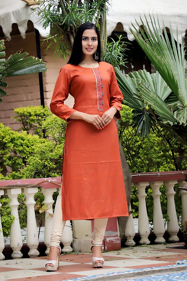 Carrot Embroidered Palazzo