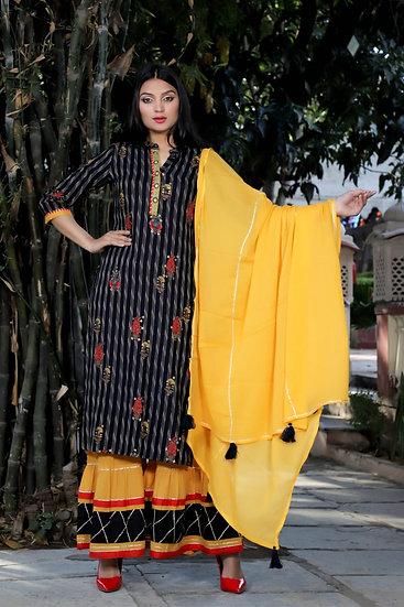 Royal Blue & Yellow Sharara