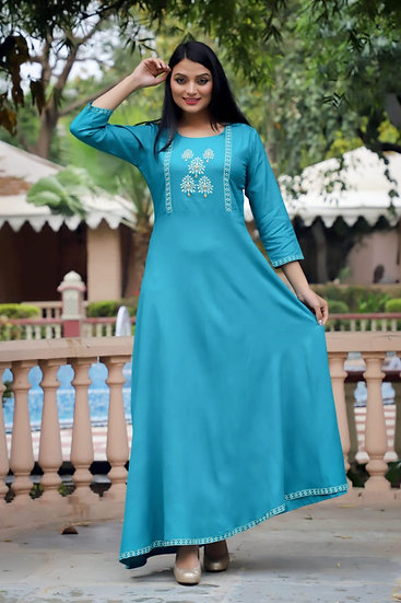 Teal Embroidered Palazzo