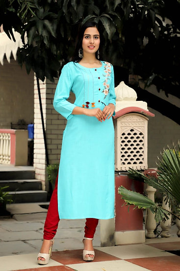 Light Blue Embroided Palazzo