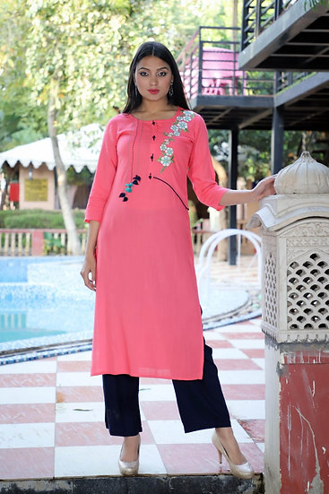 Pink Embroidered Palazzo