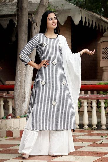 Black and White Striped Sharara