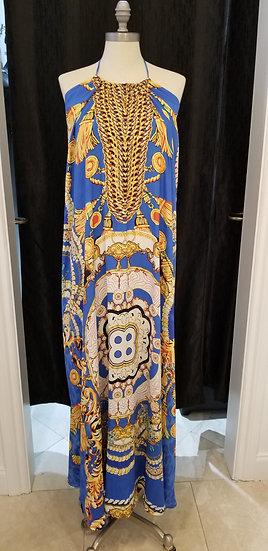 Blue Gold Print Necklace Dress