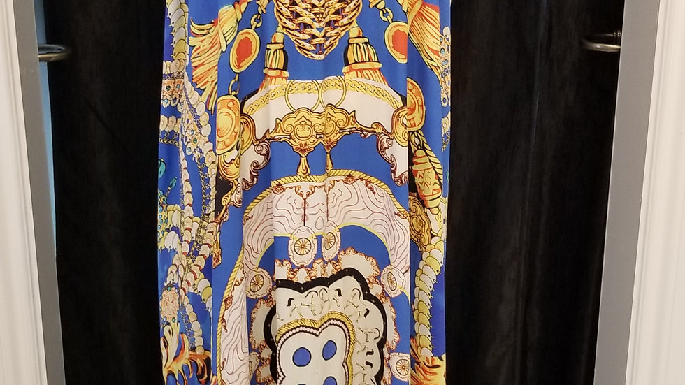 FB 302 Blue Gold Print Necklace Dress