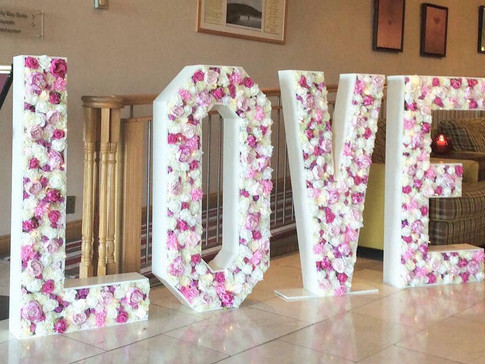 floral LOVE signs
