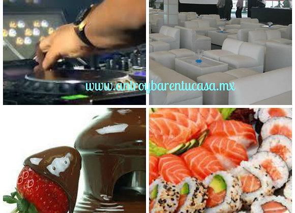 Salas con Dj´s Barra de Sushi y Fuente 30 personas