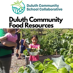 Duluth Community Food Resources and a girl holding up a bowl of greens in a garden