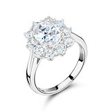 Oval 10 stone  Cluster Mount Ring