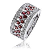 1.00CTS Diamonds & Ruby 18k White Gold  Rin