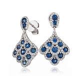 Sapphire & Diamond 2.30ct  18k White Gold Earrings