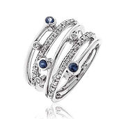 0.40CTS Diamonds  & Blue Sapphire  18k White Gold  Ring