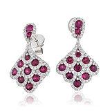 Ruby & Diamond 2.20ct  18k White Gold Earrings