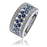 1.00CTS Diamonds & Sapphires 18k White Gold  Ring