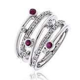 0.40CTS Diamonds  & Ruby  18k White Gold Ring