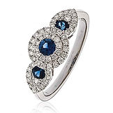 0.90CTS Diamonds & Blue Sapphires  18k White Gold  Ring