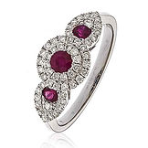 0.90 CTS Diamonds  & Rubies  18k White Gold  Ring