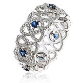 1.30CTS Diamonds & Blue Sapphires  18k White Gold  Ring