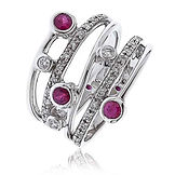0.70CTS Diamonds  18k White Gold & Ruby  Ring