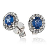 Sapphire & Diamond 0.75ct  18kt White Gold Earring